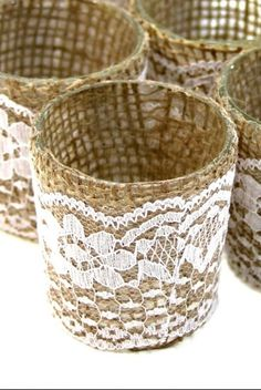 6 Burlap Lace Candle Holders Burlap Votive by SparkleSoiree, $19.99