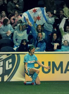 Megan Rapinoe celebrates a Chicago Red Stars goal from the Toyota Park days. Just the best.