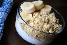 Three Ingredient Breakfast: Cooked Quinoa, Chobani Greek Yogurt, Sliced Banana.