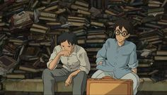 "Honjo and Jiro taking a break after rescuing an entire pile of books from the fire that broke out after the earthquake - ""The Wind Rises"" (2013)"