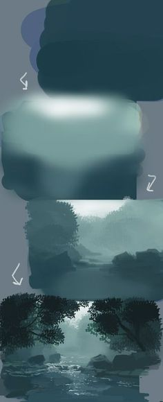 Ideas for painting tips photoshop Digital Painting Tutorials, Digital Art Tutorial, Art Tutorials, Digital Paintings, Concept Art Tutorial, Matte Painting, Painting Tips, Painting Techniques, Painting Art