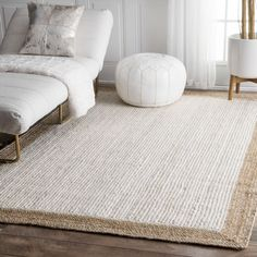 Beachcrest Home Rockfield Jute/Sisal White/Beige Area Rug Rug Size: Rectangle x - Outdoor Rugs Sisal, White Area Rug, Beige Area Rugs, White Rugs, Blue Area, Jute Carpet, Red Carpet, Stair Carpet, Hall Carpet