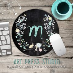Chalkboard Initial Mousepad, Chalkboard Wreath Mouse Pad, Chalk Monogram and Flowers Mousepad, Boho Chic Mouse Pad by ArtPressStudio on Etsy https://www.etsy.com/listing/256583654/chalkboard-initial-mousepad-chalkboard
