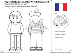First Grade Paper Dolls Community & Cultures Worksheets: French Paper Doll