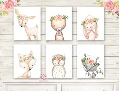 6 Deer Fox Bunny Rabbit Bear Woodland Boho Wall Art Print Nursery Set Bohemian Raccoon Owl Floral Nursery Baby Girl Room Prints Printable Home Decor