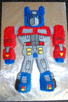 transformers birthday cake make with GF pound cake in mini loaf