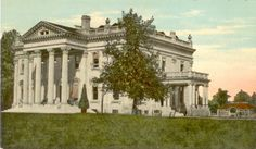 "In 1897, James Ben Ali Haggin bought Elmendorf  Farm in Lexington, KY. He expanded it by also buying quite a few of the farms surrounding Elmendorf. Haggin built a mansion on a small hill overlooking Elk Horn which he called ""Green Hills,"" a great Southern Mansion in style & feeling. When Haggin died in 1914, the estate was broken up. In 1929, then owner Joseph Widener tore down Haggins' mansion ""Green Hills"" to void taxes on the unoccupied behemoth. Only the columns remain."