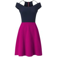 Roland Mouret Natan Dress found on Polyvore featuring dresses, short, off-the-shoulder ruffle dresses, color block dress, short pink dress, a line dress and colorblock dresses
