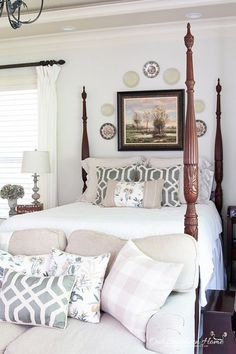Gorgeous ideas for a light and airy summer master bedroom! #ashwood #masterbedroom #ricebed #summerbedroom Guest Room Decor, Home Decor Bedroom, Bedroom Furniture, Diy Home Decor, Bedroom Ideas, Bedroom Inspiration, Small Room Bedroom, Small Rooms, Bedroom Wall