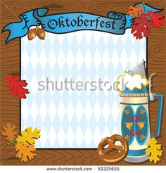Oktoberfest Party Invitation with Beer Stein - stock photo