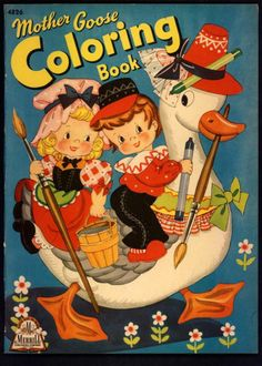 """Uncolored """"Mother GOOSE Coloring Book"""" 4826 Merrill 1943 2718   eBay"""