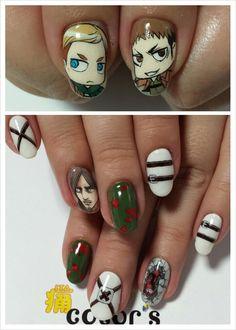 進撃の巨人(Attack on Titan)☆ジャン☆エルヴィン団長☆ミケ☆Attack on Titan : Character nail art Kawaii Nail Art, Cute Nail Art, Cute Nails, Tv Anime, Anime Plus, Diy Nails, Manicure, Japan Nail Art, Anime Nails