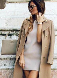 Mini dress beige coat