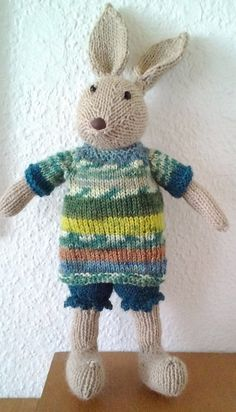 Free Knitting Pattern for Mr. Bunny Toy - This adorable rabbit toy by DROPS design sports pants, jumper (pullover) and bow, and is 12 inches (including ears). Pictured project by kabagi