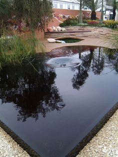Reflective Water Feature.  The wet-edge detail of this water feature gives it a sleek look, and the water reflects the surrounding landscape. Landscape designer Jamie Durie stained the water for a dark, rich look that resembles the color of tea trees.