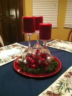 Inverted Wine Glasses as Candlesticks for 2016 New Years Table Centerpiece - Table Decor, Silver Baubles
