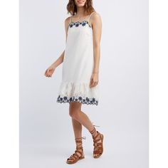 Charlotte Russe Floral Eyelet Ruffle Dress ($33) ❤ liked on Polyvore featuring dresses, white, charlotte russe dresses, spaghetti strap dress, feather dress, white feather dress and white spaghetti strap dress