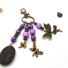 A parfumer!!! bijou de sac bronze libellules perles mauves et violettes