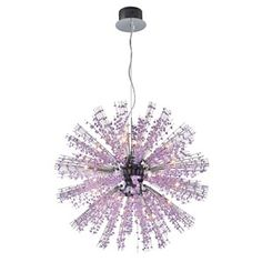 ELK Lighting Andromeda Collection 22 Light Pendant In Chrome With Purple Crystal Polished Chrome