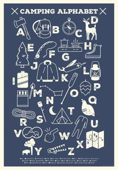 Camping Alphabet Poster by LiaGriffith on Etsy Boys Bedroom Decor, Bedroom Themes, Nursery Themes, Nursery Ideas, Room Ideas, Teen Bedroom, Bedroom Designs, Camping Bedroom, Camping Nursery