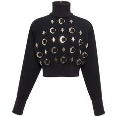David Koma Black Embellished Jumper (102.940 RUB) found on Polyvore featuring women's fashion, tops, sweaters, david koma, zip crop top, long jumpers, cut-out crop tops, embellished crop top and cropped jumper