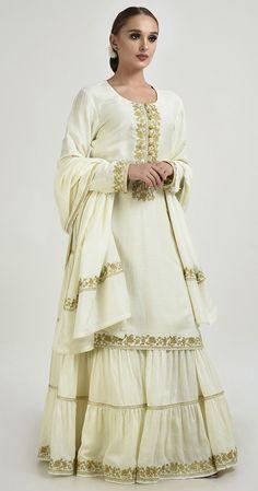 a4b87c666e Ivory Gold Tilla Embroidered Fine 120 Count Cotton Gharara Suit Sharara,  Salwar Kameez, Kurti