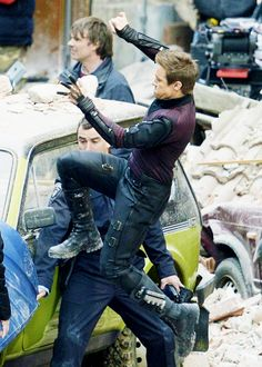 "Jeremy Renner as Hawkeye, filming an action scene in ""Avengers: The Age of Ultron"" in Italy.  The production moves next to South Korea."