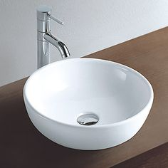 Cloakroom basins cloakroom sinks small sinks clickbasin co uk - Arezzo 40cm Circular Deep Round White Counter Top Basin
