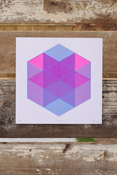 """X-HOUSE / Jp King 10"""" x 10"""", Printed on luxuriously thick card-stock.  Fluro Pink  Blue Risograph Printing This Art Print is Pure Isometric Bliss. These cubes assemble to create a vibrating little imaginary abode, with many tiny shelves for all the many tiny things one needs to stay organized."""