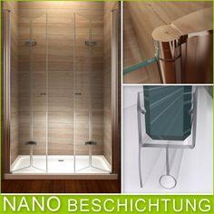Klarglas ESG Falttür-Duschtür 960-1000mm Pendeltür Nischentür Duschabtrennung Metallscharniere NANO!