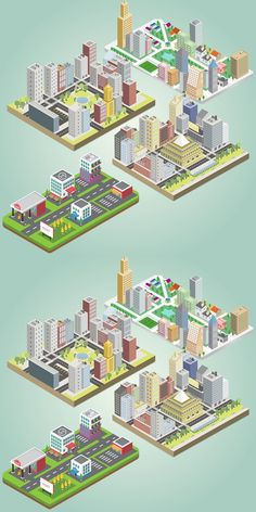 Vector illustration for your ideas! Isometric Map, Isometric Design, Trends Map, Vertical City, City Sketch, Pixel Games, Minecraft Projects, City Illustration, Kids Poster