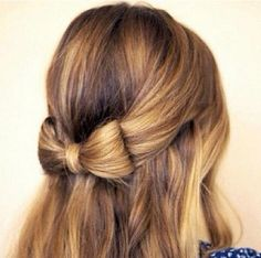 Half up, half down hair bow style :)