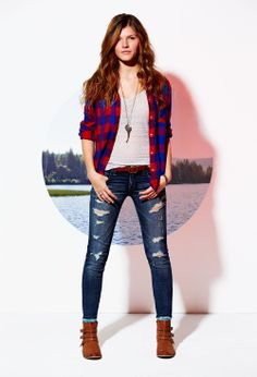plaid shirt + distressed jeans + long necklace + brown ankle booties