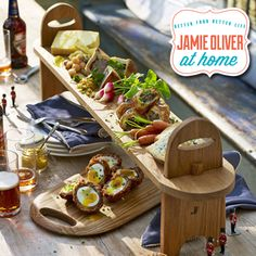 "It's the weekend! Whether you are heading to the park for a romantic picnic or calling the neighbors over for a party, a perfect product for entertaining friends and family is the Antipasti Platter, also know as ""Jamie's Runner!"" This fantastic long American oak board is great for adding space or height to any table, ideal for Antipasti but also great for serving all kinds of foods like curries, cakes, and even pizza! #JamieOliverAtHome #JamieOliver"