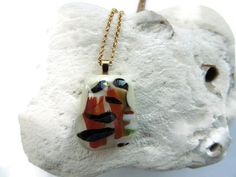 fused glass necklace brown glass pendant by Homeforglasslovers, $24.50