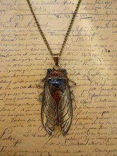 Vintage Bronze Large Beetle Egyptian Cicada Scarab charm