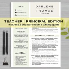 How To Make A Resume And Cover Letter Teacher Resume Template For Ms Word  1 & 2 Page Resume Cover .