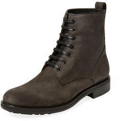Vince Men's Carter Mucelago Waxed Calf Boot - Grey - Size 8 (1.030 RON) ❤ liked on Polyvore featuring men's fashion, men's shoes, men's boots, grey, mens gray boots, mens leather lace up boots, mens high top boots, mens gray dress shoes and mens grey shoes