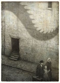 MARTY - The Arrival by Shaun Tan is a wordless graphic novel in which a migrant journeys to a new country. His sadness about leaving his home is conveyed through the sepia-like tone and eerie, dark textured style.