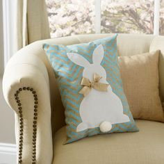 "Aqua Chevron Easter Bunny Burlap Pillow (item# 137229) ~ 12x16"" polyester burlap cushion accented with burlap bow & pompom tail, $15 