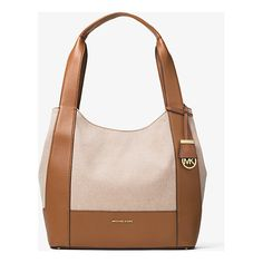 With smooth leather trim and a clean-lined shape, our Marlon bag is a refined take on the quintessential canvas tote. The spacious interior showcases three compartments—ideal for stowing your wallet, spare shoes and an umbrella, while signature hardware a Handbags Michael Kors, Michael Kors Bag, Nude Shoulder Bags, Leather Gifts, Leather Totes, Leather Jewelry, Luxury Handbags, Designer Handbags, 2017 Handbags