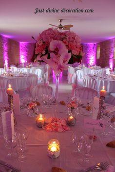 compostion rose oeillet orchidée hortensia vase martini mariage rose et gris
