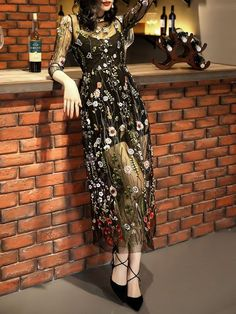 Shop Maxi Dresses - Black 3/4 Sleeve Polyester Floral Embroidered Party Dress online. Discover unique designers fashion at StyleWe.com.