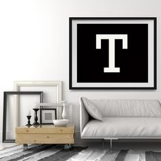 Letter T in 4 color choices, Monogramed Photo Print or Canvas kids Wall art