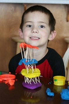 Tower of Babel with play dough & toothpicks