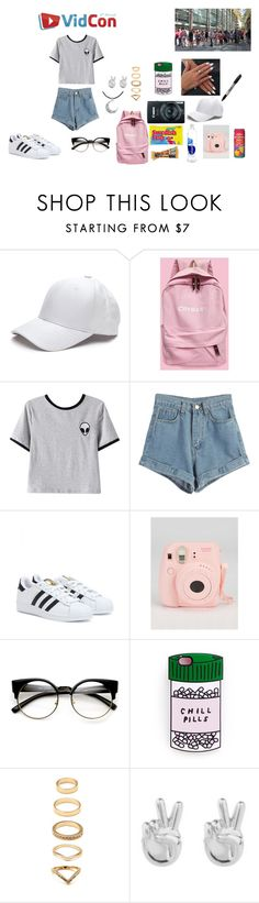 """Day 2; VIDCON 2k16"" by httpevette on Polyvore featuring Chicnova Fashion, WithChic, adidas, FRUIT, Forever 21, Rock 'N Rose and Carolina Glamour Collection"