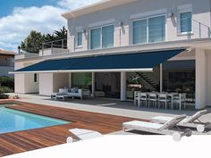 Spring is the perfect time to extend your living space out on to the patio or garden. To this end AMERICAN shutters are proud to introduce Markilux awnings and screens. Retractable Shade, Retractable Awning, Pergola With Roof, Wooden Pergola, Pergola Kits, Outside Living, Outdoor Living, Outdoor Decor, American Shutters