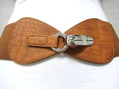 "WOMEN'S SILVER RING BUCKLE CAMEL HIP FAUX CROC LEATHER WIDE BOW TIE BELT 29""-45"" US $14.95 FREE Standard Shipping"