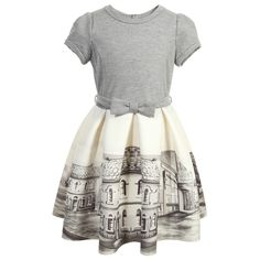 Monnalisa Grey & Ivory Street Print Neoprene Dress at Childrensalon.com
