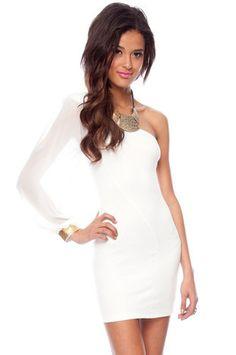 One Shoulder Chiffon Dress in White $46 at www.tobi.com
